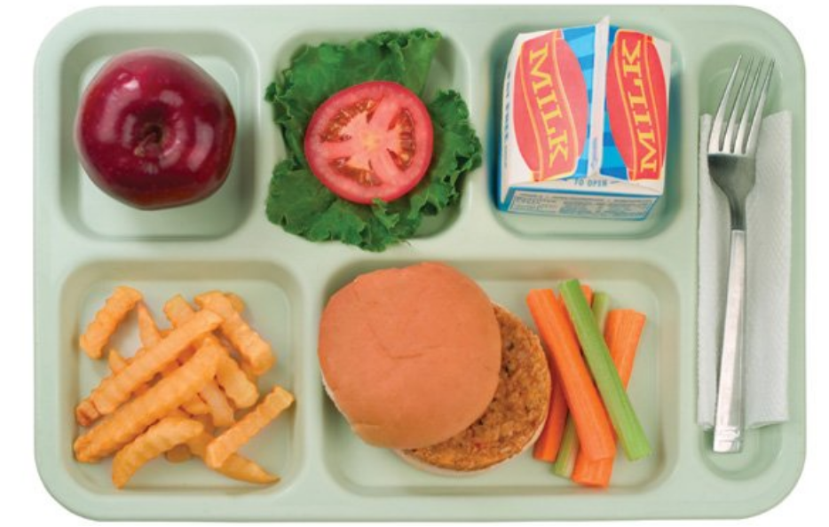 School lunch tray of food