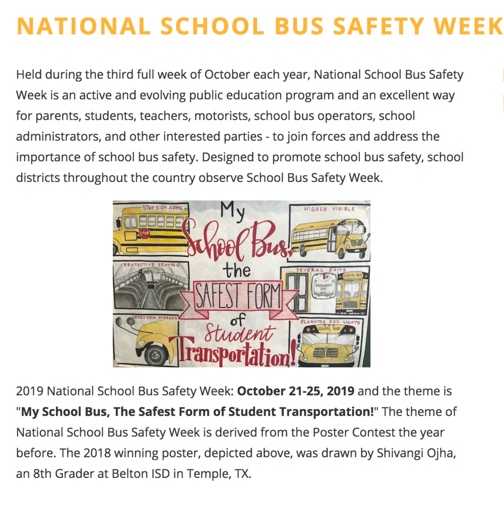 Poster and explanation of National School Bus Safety Week