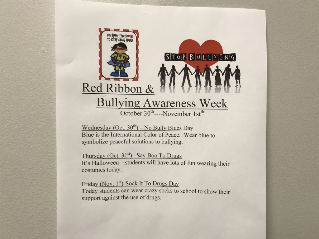 October 29-November 1 is Red Ribbon & Bullying Awareness Week