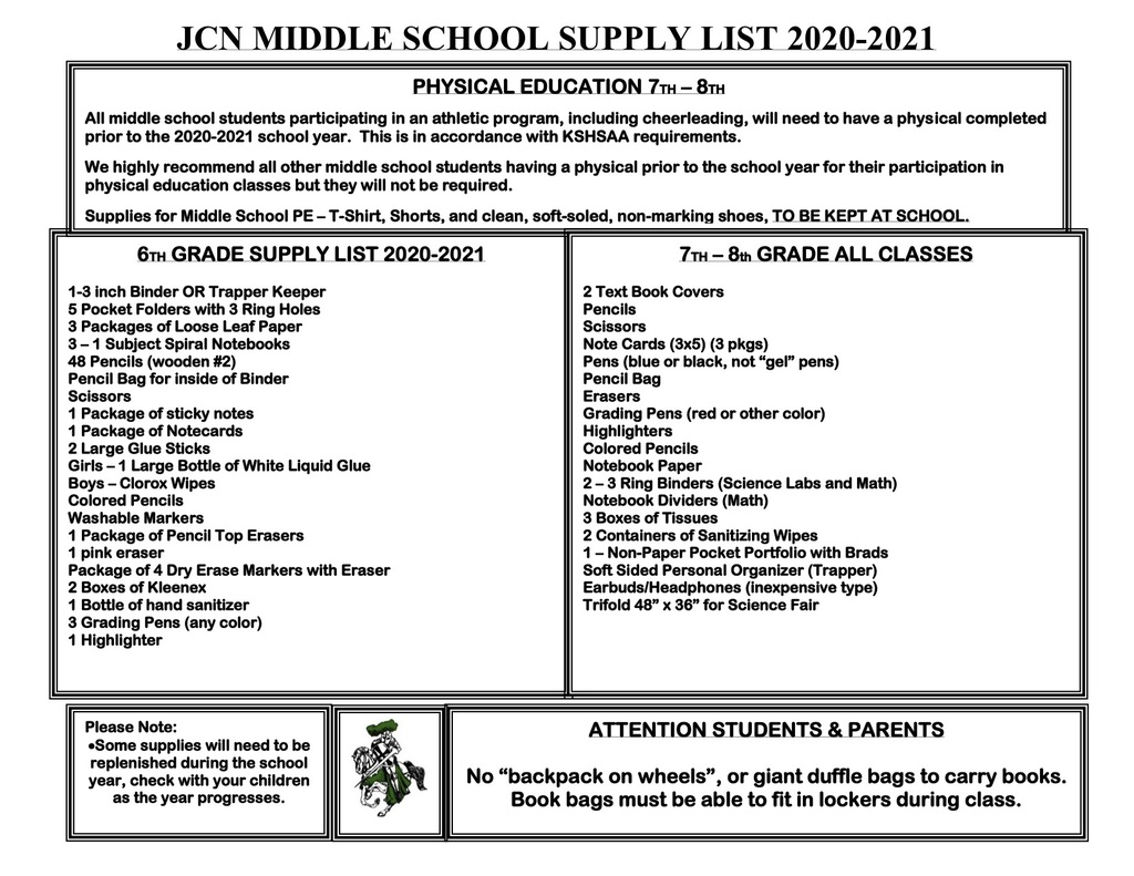 Middle School List